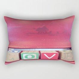 Love Red Blocks Rectangular Pillow