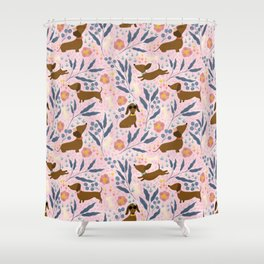 Floral Sausage Dogs Shower Curtain
