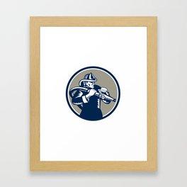 Vintage Fireman Firefighter Aiming Hose Circle Woodcut Framed Art Print
