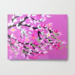 Pink and Gray with Cherry Blossom Metal Print