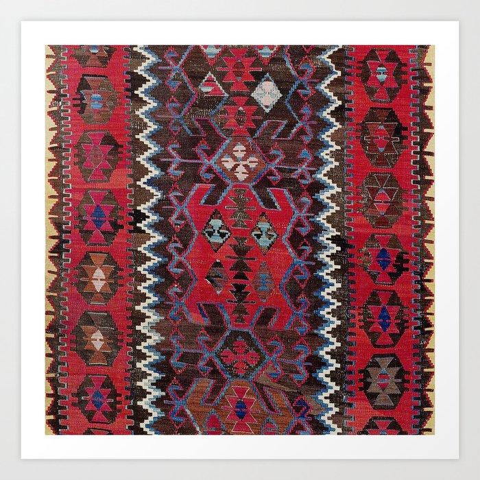 Obruk Konya Turkish  Antique Kilim Rug Print Kunstdrucke