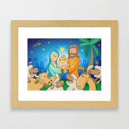 Sweet scene of the nativity of baby Jesus Framed Art Print