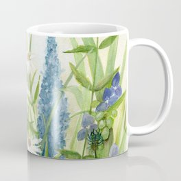 Watercolor Botanical Garden Flower Wildflower Blue Flower Garden Coffee Mug
