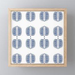 TROPICAL PALMS . WHITE + BLUE Framed Mini Art Print