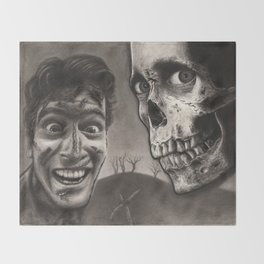 Ash with Skull and Cross - Evil Dead 2 Charcoal and Graphite Drawing Art Throw Blanket