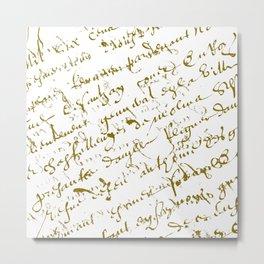 French Script on white Metal Print