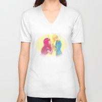 princess bubblegum V-neck T-shirts featuring Fiona and Princess Bubblegum by Dani Taillefer