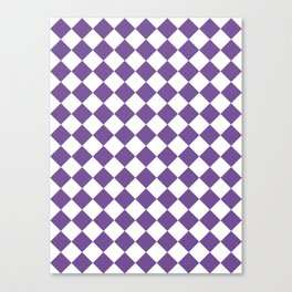 Diamonds - White and Dark Lavender Violet Canvas Print