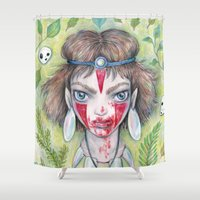 princess mononoke Shower Curtains featuring Princess Mononoke  by Brettisagirl