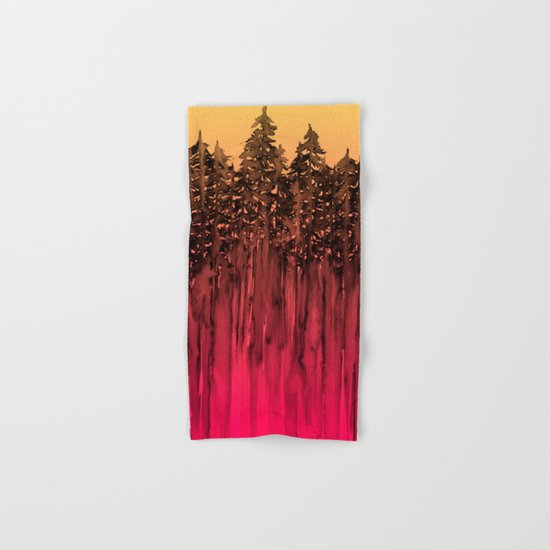 FOREST THROUGH THE TREES 12 Hot Pink Magenta Orange Black Landscape Ombre Abstract Painting Outdoors Hand & Bath Towel