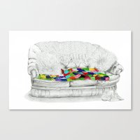 sofa Canvas Prints featuring Granny's Sofa by Lisa Hawthorne