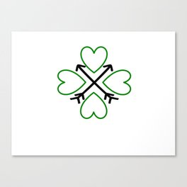 St. Patrick's Day Shamrock Lucky Charm Green Clover Veart with Arrows Canvas Print