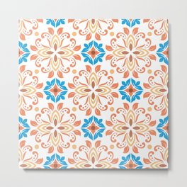 Shiny Happy Midcentury Style Pattern in Orange and Teal Metal Print