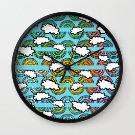 Rainbow Waves Wall Clock