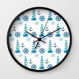 Marine theme in blue Wall Clock