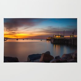 Here she comes again the sun rising at Port San Luis vila Beach Rug