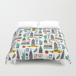 NYC travel pattern fun kids decor boys and girls nursery new york city theme Duvet Cover
