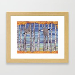 Canada geese, hedgehogs, and autumn birch trees Framed Art Print