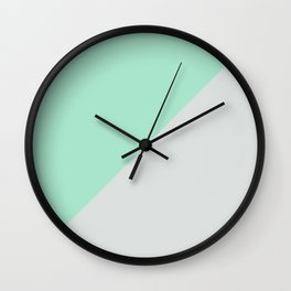 Turquoise gray abstract modern color block Wall Clock