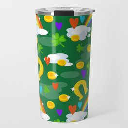 st patricks day, Irish gift, shamrock, ireland, irish gifts women, luck of the irish, rainbow Travel Mug