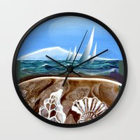 geology Wall Clocks featuring The Geology of Boating by Patricia Howitt