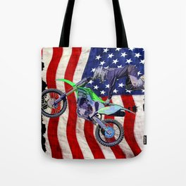 High Flying Freestyle Motocross Rider & US Flag Tote Bag