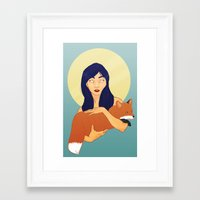 kitsune Framed Art Prints featuring Kitsune by Sweet Demise Designs