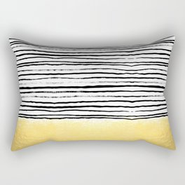 Blaire - Brushed Gold Stripes - black and gold, gold trend, gold phone case, gold cell case Rectangular Pillow