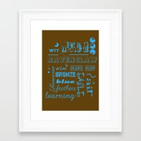 ravenclaw Framed Art Prints featuring Ravenclaw by husavendaczek