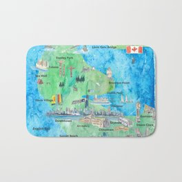 Vancouver British Columbia Canada Travel Poster Favorite Map Bath Mat