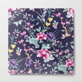 Navy Blue Chinoiserie Asian Floral Print Metal Print