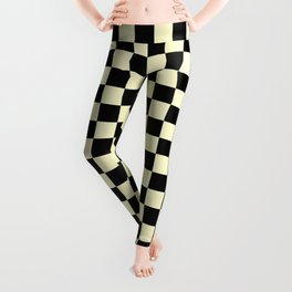 Black and Cream Yellow Checkerboard Leggings