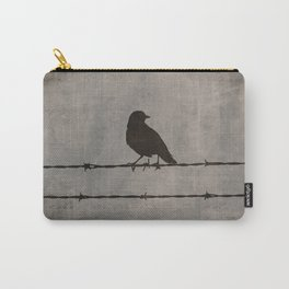 Rustic Black Bird Barbed Wire Modern Country Home Decor Art Matted Picture A476 Carry-All Pouch