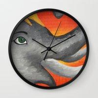 ganesh Wall Clocks featuring Ganesh by Erin Schamberger