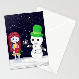 Snowman Jack and Sally with Poinsettia Stationery Cards