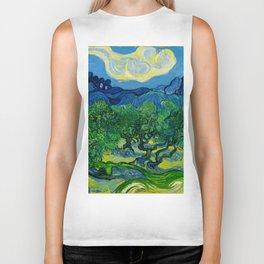 Olive Trees by Vincent Van Gogh Oil Painting Biker Tank
