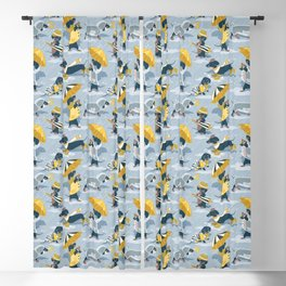 Ready For a Rainy Walk // pastel blue background dachshunds dogs with yellow and transparent rain co Blackout Curtain
