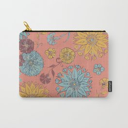 Multi-Florals Coral, Yellow & Blue Carry-All Pouch
