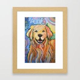 Max ... Abstract dog art, Golden Retriever, Original animal painting Framed Art Print