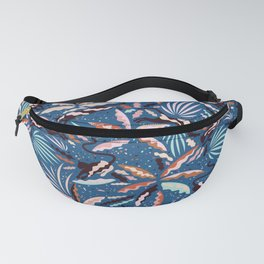 Exotic Wilderness on Blue / Panthers and Plants Fanny Pack