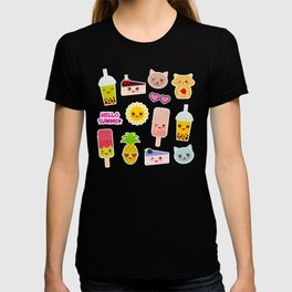 Hello Summer. Pineapple, cherry smoothie cup, ice cream, sun, cat, cake, hamster. Kawaii cute face. T-shirt