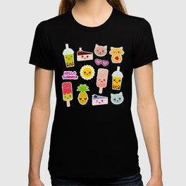 Hello Summer. Pineapple, cherry smoothie cup, ice cream, sun, cat, cake, hamster. Kawaii cute face. T-shirt
