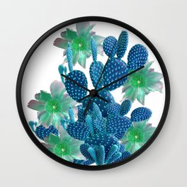 SURREAL BLUE PEAR CACTUS & FLOWERS DESERT ART Wall Clock