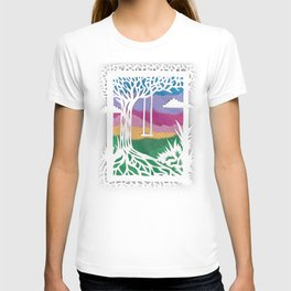 Sunset Swing Papercut T-shirt