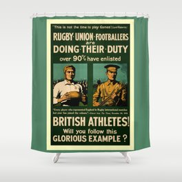 British rugby, football players call for duty Shower Curtain