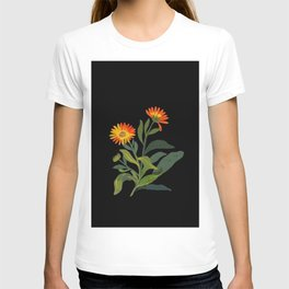Calendula Officinalis Mary Delany Floral Paper Collage Delicate Vintage Flowers T-shirt