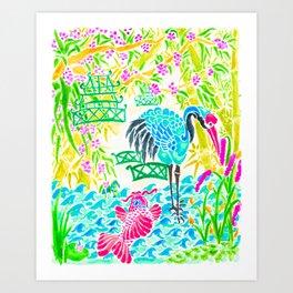 Asian Bamboo Garden in Sunset Watercolor Art Print