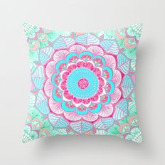 Tropical Bloom - floral doodle in pink, mint, peach, aqua, white Throw Pillow