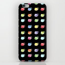 Watercolor cups on the black background iPhone Skin