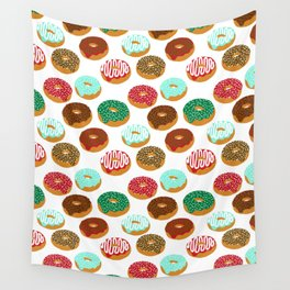 Christmas festive donuts holiday dessert junk food foodie pattern print red and green Wall Tapestry